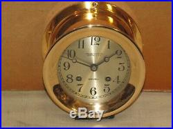 Chelsea Antique Ships Bell Clock4 1/2 In Dial1922red Brasshinged Bezel