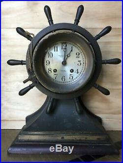 Chelsea Clock Company Ship's Bell Brass Mantel Clock circa 1920's