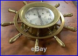 Chelsea Ship Bell 14 Ships Wheel Clock Brass 14