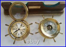 Chelsea Ship's Bell Clock & Barometer Set On Wood Stand Boston U. S. A. Vintage
