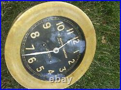 Chelsea Ship's Bell Clock US Maritime Commission Brass Case 5.5 inch Dial Works