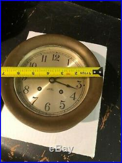 Chelsea Ship's Bell Heavy Brass Nautical Clock 5 3/16 FACE OVERALL 7 3/16