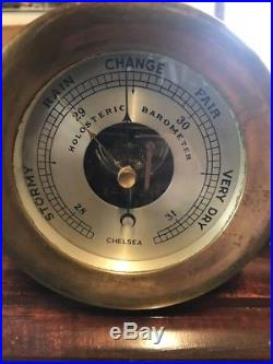 Chelsea Ships Bell 1960s Clock And Holosteric Barometer Brass With Stand
