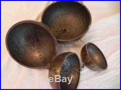 Chinese Cascading Bells Gongs Set of 4 Hand Hammered Engraved Antique
