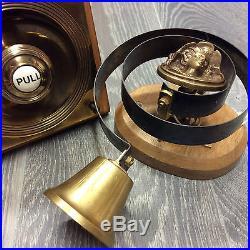 Claverley Victorian Antique Solid Brass Butlers Servants Door Bell and Pull
