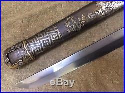 Collectable Japanese Samurai Sword Sharp Blade Warriors&Belle Saya Brass Sheath
