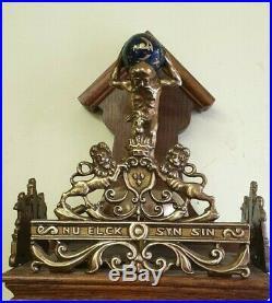 Compact Vintage Dutch Zaandam Weight Driven 8 Day Wall Clock with Bell Strike