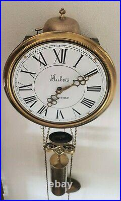 Comtoise Station Clock French Style 8 Day One Weight Brass Pendulum Bell Strike