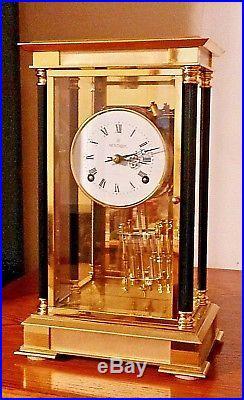 Crystal regulator double bell strike 8 day beveled glass / heavy brass clock