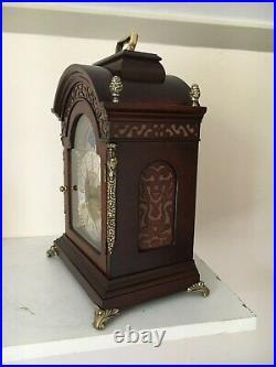 Dutch 8 day Bracket Clock, FHS Movement, Moon phase, 2 bells, wood Cornice