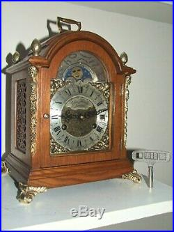 Dutch 8 day Oak Bracket Clock John Thomas LondonMoon phase/Calendar, 2 Bells
