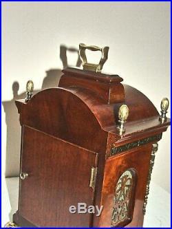 Dutch 8 day Warmink Bracket Clock Moon phase, 2 bells, brass Cornice, Silent option