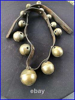 Early 1800 Antique 13 Brass Horse Sleigh Petal Bells John Shipman 1779 -1859