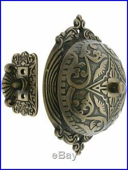 Eastlake-Style Turn-Key Door Bell, Mechanical Heavy Cast, Solid Antique Brass
