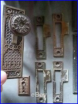 Elaine Reading Hardware Large Lot Door Knobs, Plates, Locks Bell Pull 80 Pieces