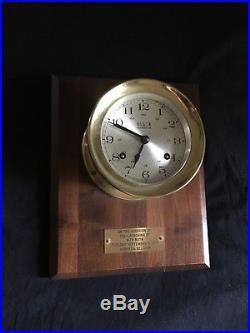 Elgin Brash Ship's Bell Clock, 8 Day 4 Jewel Movement, Chiming