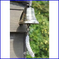 Extra Large 7 Solid Antique Brass Ship Hanging Bell With Rope Lanyard