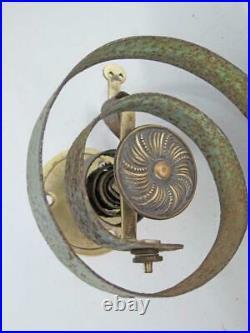 FINE ANTIQUE BRASS FRONT DOOR / SERVANT BELL ON SPRING 1850 butler shop c