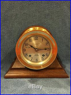FULLY RESTORED 1956 Chelsea Ships Bell Clock in Mahogany Base 3-3/4 Dial