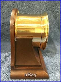 FULLY RESTORED 1956 Chelsea Ships Bell Clock in Mahogany Base 3-3/4 Dial