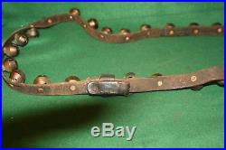 Fabulous Antique 28 Horse Brass Sleigh Bells on Original Leather Strap Inv#RW08