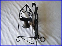 Fabulous Vintage French Wrought Iron Brass Chain Pull Door Bell Wall Mounted