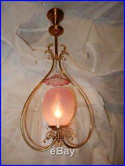 Fancy Brass Gas Chandelier Fixture PinK Opalescent Shade with Smoke Bell