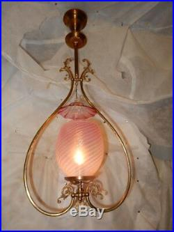 Fancy Brass Gas Chandelier Fixture PinK Opalescent Shade with Smoke Bell