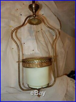 Fancy Brass Gas Chandelier Fixture Vasekine Opalescent Shade with Smoke Bell