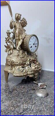 French Antique ornate, gilt 8 Day bell striking mantle clock. Circa 1890. Workin