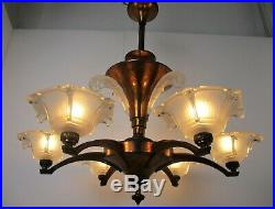 French Art Deco Nouveau Chandelier 6 Arms Lights Bell Shades Brass Glass