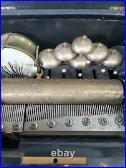 Full Orchestral Antique Music Box roller Bells Drums Brass cylinder Swiss Resto