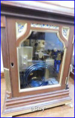 Good mahogany and brass triple fusee bracket clock on 8 bells & 5 gongs, small
