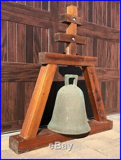 HUGE Antique California BRONZE MISSION BELL Architectural Salvage Church Brass