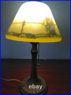 Handel table lamp with reversed painting of ships on globe/ pull chain switch