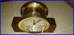 Howard Miller Ships Bell Clock German 11 Jewel 132-071 Germany with Wooden Base