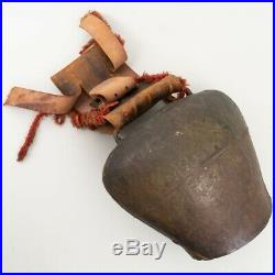 Huge 19 Antique Cow Bell German Austrian Tooled Leather Strap w. Brass Buckle