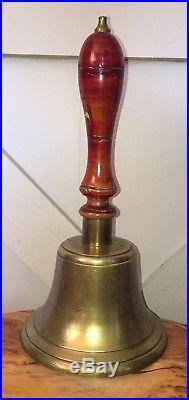 Huge Antique Brass/Bronze School Teacher Hand Bell Desk Vintage Town Crier 13