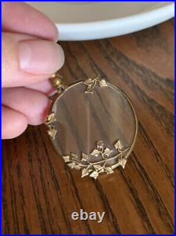 IVY French Victorian Brass Photo Locket Pendant Reversible Mourning Belle Epoque