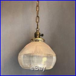 Industrial Open Bottom Holophane Glass Bell Shape Pendant Light