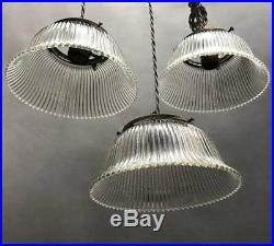 Industrial Prismatic Holophane Glass Bell Pendant Lights