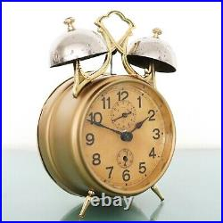 JUNGHANS Alarm Mantel Clock Antique VERY RARE MODEL! 1920s DOUBLE BELLS! Germany