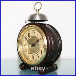 JUNGHANS Alarm Mantel Clock Antique XXL Wood 1920s BELL German RESTORED SERVICED