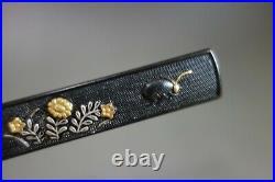 Kozuka Japan Samurai autumn leaf bell cricket sword fitting tsuba katana nihonto