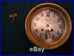 LARGE BRASS EARLY 1910'S Chelsea Ships Bell Clock BOSTON Bigelow Kennard 120958