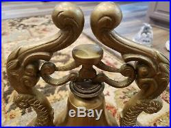LG Vintage BRASS Double DOLPHIN Koi FISH Figural STATUE Old SHIP Submarine BELL