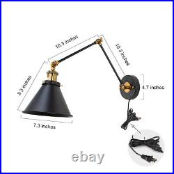 LNC Black Wall Lamp Adjustable Wall Sconces Plug-in Sconces Wall Lighting