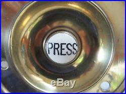 Large 4 Antique Brass Electric Door Bell Push press (Reclaimed, restored)