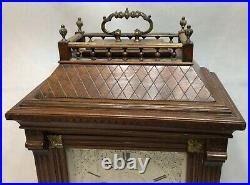 Large Aesthetic Carved German 8 Bells Musical Brass Mounted Bracket clock