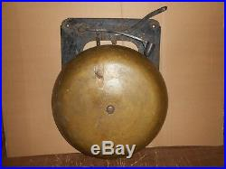Large Antique 16 1/2 Solid Brass Boxing School Bell Wall Mounted
